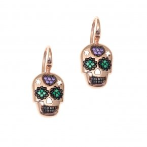 Earring silver 925 pink gold plated and colored zirconia - Enigma