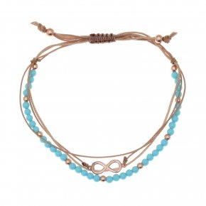 Bracelet silver 925 pink gold plated, cord and turquoise stones - Aegis