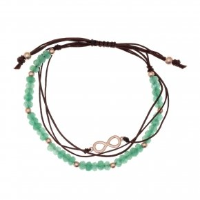 Bracelet silver 925 pink gold plated, cord and green stones - Aegis
