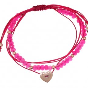 Bracelet silver 925 pink gold plated, cord and fucia stones - Aegis