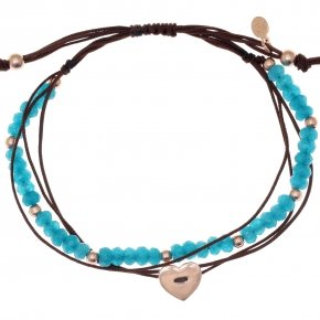 Bracelet silver 925 pink gold plated, cord and light blue stones - Aegis