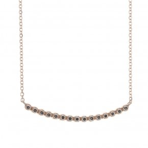 Necklace pink gold K14 with black diamonds t.w. 0,09 ct - CLASSICS