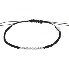 Cord Bracelet in white gold 14 carats and white diamonds tw 0,05 ct - CLASSICS