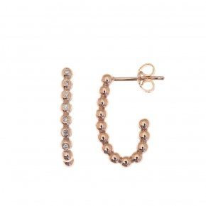 Earrings pink gold K14 with white diamonds tw 0.085 ct - CLASSICS