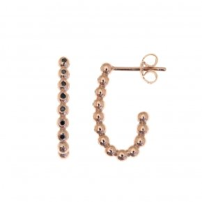 Earrings pink gold K14 with black diamonds tw 0.085 ct - CLASSICS