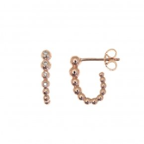 Earrings in pink gold 14 carats with white diamonds tw 0.065 ct - CLASSICS