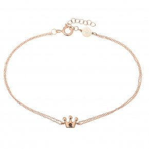 Bracelet pink gold K14 with black diamonds tw 0,01 ct - MINI