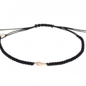 Cord Cord Bracelet in pink gold 14 carats and white diamonds tw 0,01 ct - MINI