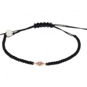 Bracelet pink gold K14 with cord and white diamonds tw 0,01 ct - MINI