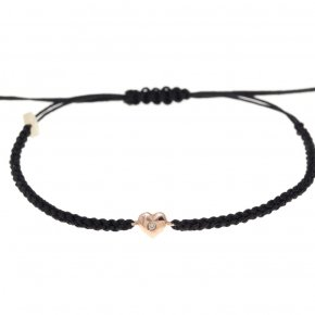 Cord Bracelet in pink gold 14 carats AND WHITEDIAMONDS tw 0,01 ct - MINI