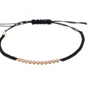 Cord Bracelet in pink gold 14 carats AND black diamonds tw 0.07 ct - CLASSICS