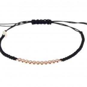Cord Bracelet in pink gold 14 carats AND black diamondstw 0.07 ct - CLASSICS