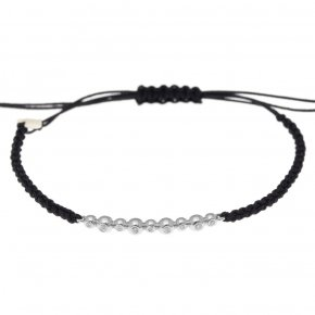 Cord Bracelet in white gold 14 carats with white diamonds tw 0,07 ct - CLASSICS