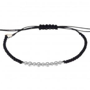Cord Bracelet in white gold 14 carats with white diamondstw 0,07 ct - CLASSICS