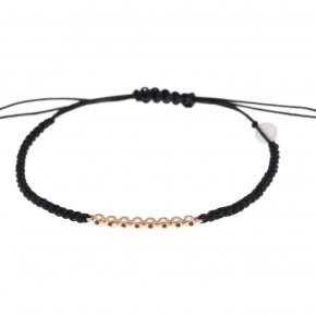 BraceletS pink gold K14 with cord and black diamonds tw 0.05 ct - CLASSICS