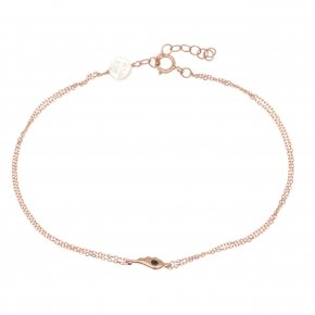 Bracelet in pink gold 14 carats with black diamonds tw 0,01ct - MINI