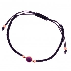 Bracelet silver 925 pink gold plated,black cord and enamel - Smalto