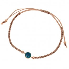 Bracelet silver 925 pink gold plated,μπεζ cord and enamel - Smalto