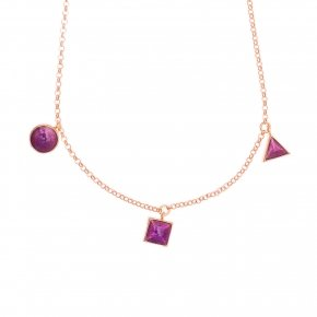 Necklace silver 925 pink gold plated and enamel - Smalto