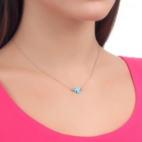 Necklace in silver 925 pink gold plated with a cross out of turquoise - Fildisi
