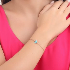 Bracelet silver 925 lenght 16,5 cm (with extra 2cm exte), pink gold plated and turquosie butterfly-shaped evil eye - Fildisi