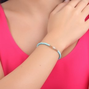 Bracelet silver 925 lenght 16,5 cm (with extra 2cm exte), pink gold plated, turquoise stones and white evil eye - Fildisi