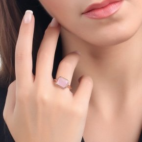 Ring silver 925 pink gold plated and pink crystal - LITHOS