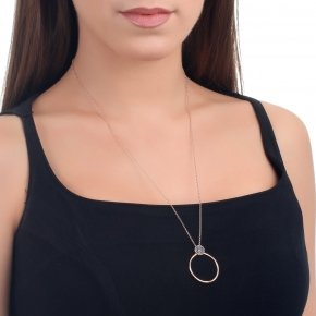 Necklace silver 925 with lenght 50 cm, pink gold plated and black zirconia - Votsalo
