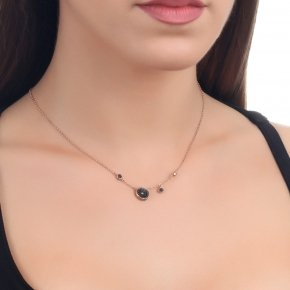 Necklace silver 925 with lenght 40 cm, pink gold plated and black zirconia - Votsalo