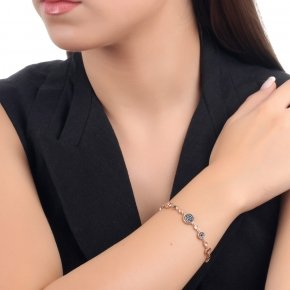 Bracelet in silver 925 pink gold plated with black spinel and onyx - Votsalo