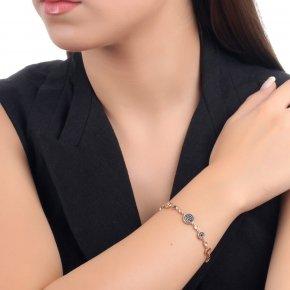 Bracelet silver 925, pink gold plated and black zirconia - Votsalo