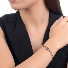 Bracelet silver 925, pink gold plated, black zirconia and onyx - Votsalo