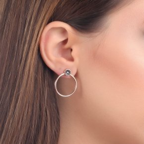 Earrings silver 925 pink gold plated and black zirconia - Votsalo