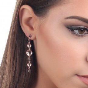 Earrings Silver 925 pink gold plated with black spinel - Votsalo