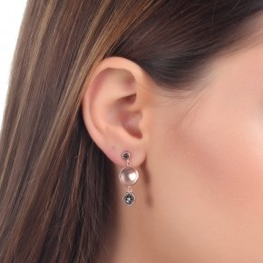 Earrings Silver 925, pink gold plated with blackspinel - Votsalo