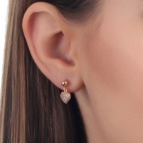 Earring silver 925 pink gold plated and white zirconia - Eumelia
