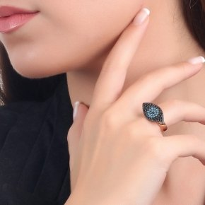 Ring Silver 925, pink gold plated with black and turqoisezirconia - Fantasia
