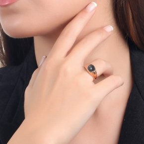 Ring Silver 925, pink gold plated with black spinel - Votsalo
