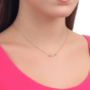 Necklace silver 925 lenght 40 cm (with extra 5cm exte), pink gold plated with white evil eye - Fildisi