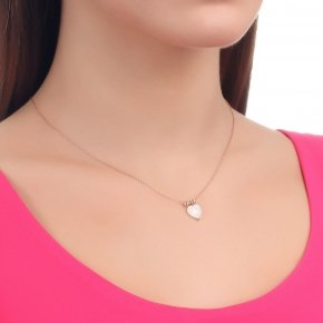 Necklace silver 925 lenght 40 cm (with extra 5cm exte), pink gold plated with white heart - Fildisi
