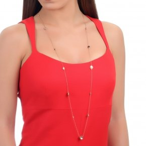 Necklace silver 925 with lenght 90 cm, pink gold plated and black zirconia - Votsalo