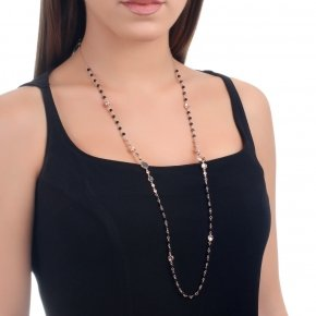 Necklace silver 925 with lenght 80 cm, pink gold plated, black zirconia and onyx - Votsalo
