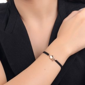 Bracelet silver 925, pink gold plated, black cord and black zirconia - Votsalo