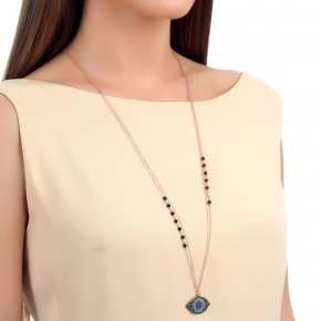 Necklace in silver 925 pink gold plated with onyx, black and turquoise zirconia - Fantasia