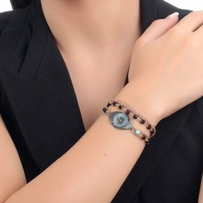 Bracelet in silver 925, pink gold plated with onyx, black and turquasezirconia - Fantasia