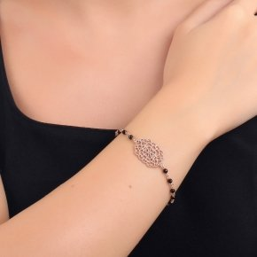 Bracelet silver 925 pink gold plated, black zirconia and onyx - Pathos