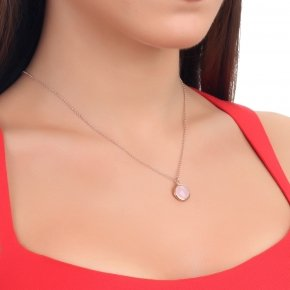 Necklace silver 925 lenght 40 cm  pink gold plated and pink crystal - LITHOS