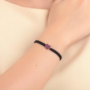 Bracelet silver 925 with black cord macrame, pink gold plated and colored zirconia - Iris