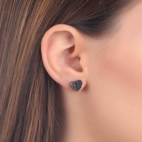 Earrings Silver 925, pink gold plated with blackspinel - Iris