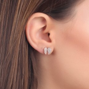 Earrings Silver 925, pink gold plated with white zirconia - Iris